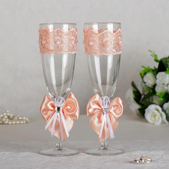 Набор свадебных бокалов для битья «Элит» с бантиком, 2 шт., персиковый