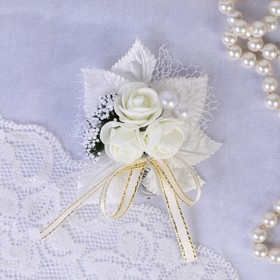 """Boutonniere """"For a groom or a witness"""", ivory, MIX"""