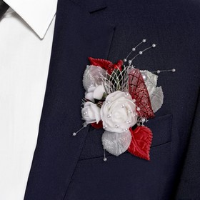 """Boutonniere """"For the groom or the witness's"""", red"""