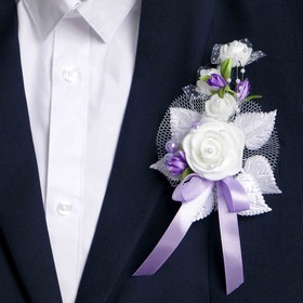 """Boutonniere """"For a groom or a witness"""", lilac, mix"""