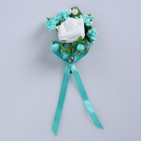 """Boutonniere """"For the groom or witness,"""" turquoise mix"""