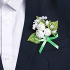 Бутоньерка «Для жениха или свидетеля», зелёная, микс