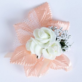 """Boutonniere """"For a groom or a witness"""", peach, mixed"""