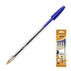 Ручка шариковая, синяя, среднее письмо, прозрачный корпус, BIC Cristal Original