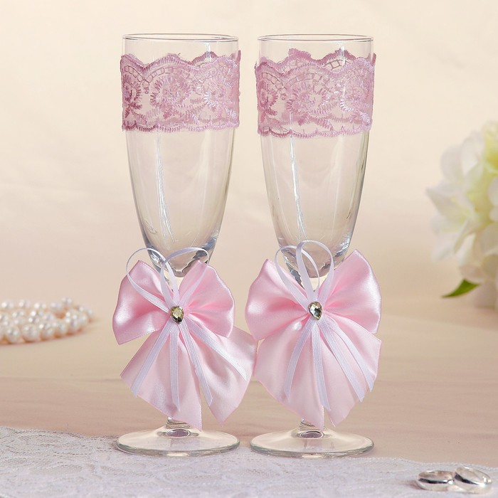 Набор свадебных бокалов для битья «Элит» с бантиком, 2 шт., розовый