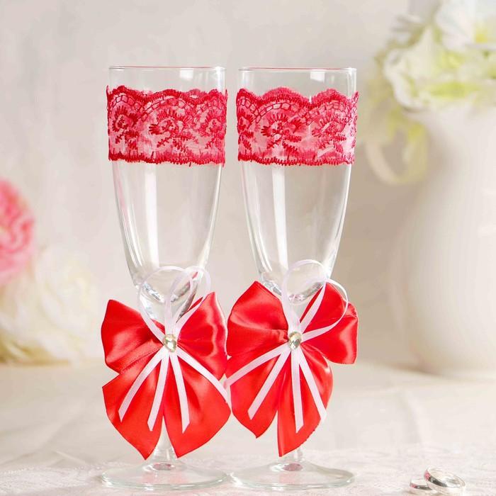 Набор свадебных бокалов для битья «Элит» с бантиком, 2 шт., красный