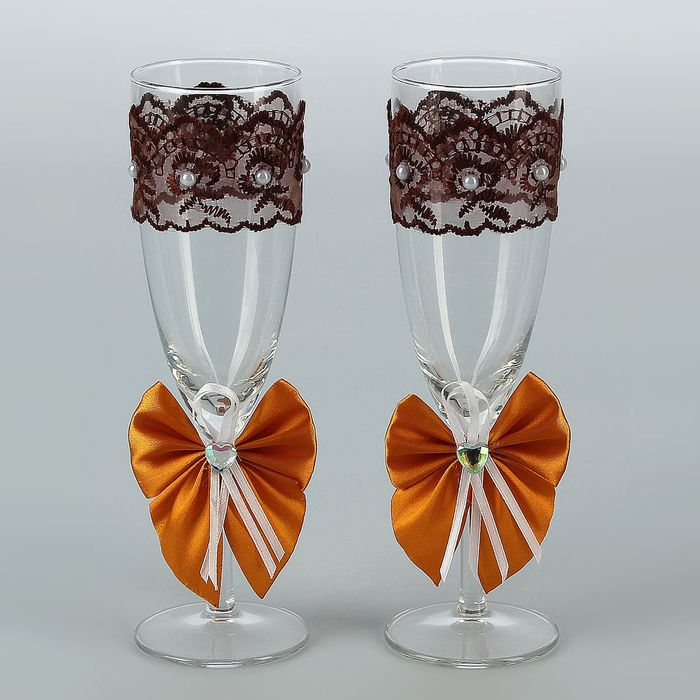 Набор свадебных бокалов для битья «Элит» с бантиком, 2 шт., шоколад