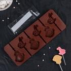 Форма для леденцов и мороженого «Детство», 6 ячеек, 24×9,5×1 см, с палочками