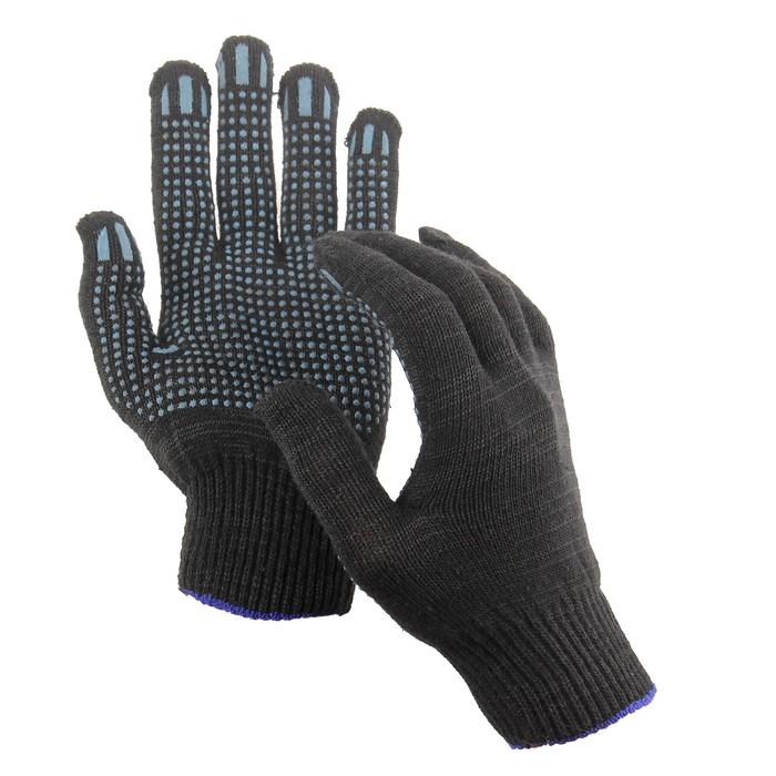 Перчатки х/б, вязка10 класс, 5 нитей, с ПВХ точками, набор 10 пар, чёрные
