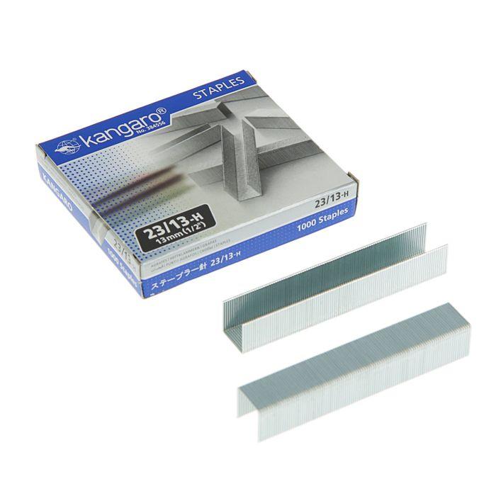 Скобы для степлера мощного №23/13 Kangaro, высококачественная сталь, 1000 штук - фото 537631969