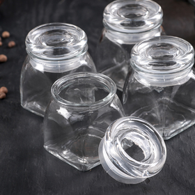 A set of jars for bulk products 100 ml Transparent 4 piece