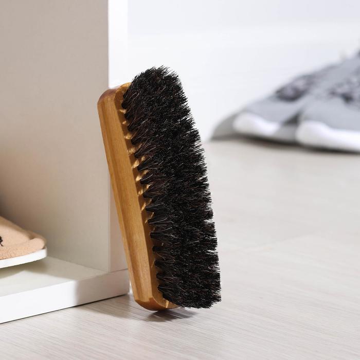 Щетка для обуви, с конским волосом 14 см