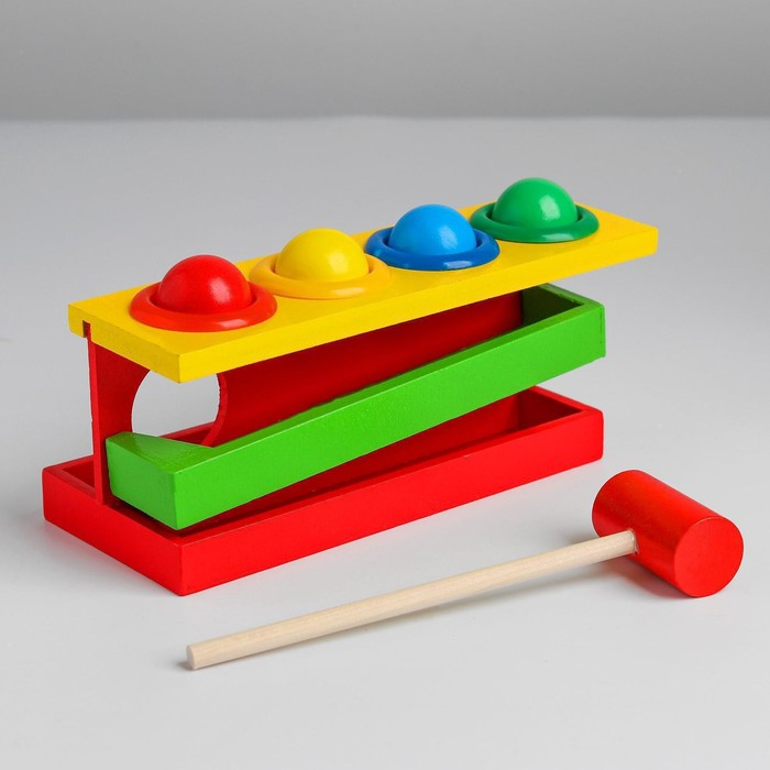 Стучалка на прямоугольном основании с 4 шариками, спуском и молоточком