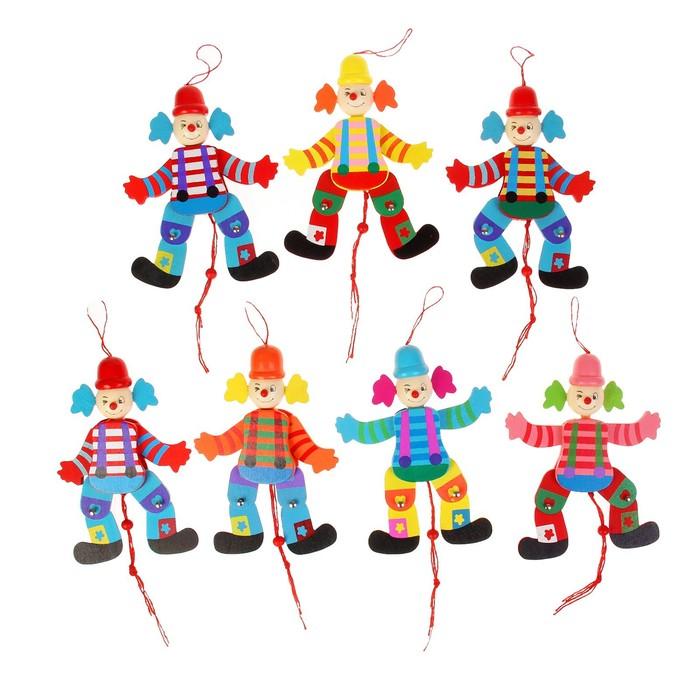 "Сувенир - дергунчик ""Клоун в цветной рубашке"", цвета МИКС"