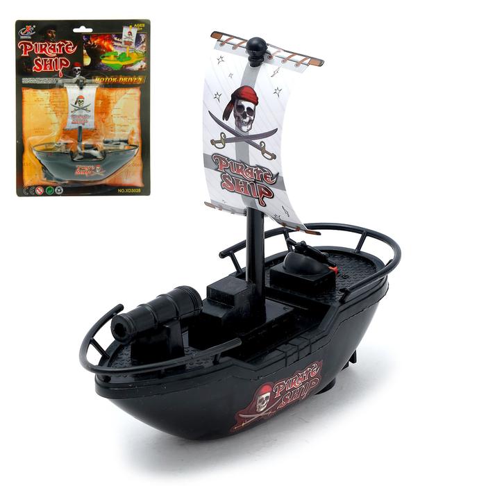 Катер «Пиратская лодка», работает от батареек