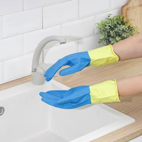 Перчатки хозяйственные латексные, плотные, размер L, 40 гр, цвет МИКС - фото 1709606