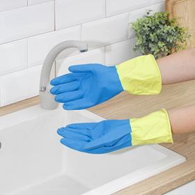 Перчатки хозяйственные латексные, плотные, размер L, 40 гр, цвет МИКС - фото 1709607