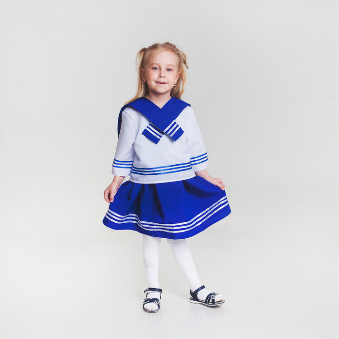 Карнавальный костюм «Морячка», рубашка, юбка, бескозырка, гюйс, р. 122-128 см, 6-7 лет - фото 105521866