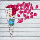 """Кулёк для праздника """"Поздравляем""""цветы, с наклейкой (набор 6шт), р-р. 21х14,8см"""