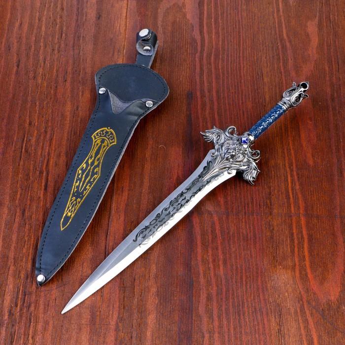 Сувенирный кортик в чехле, 31 см, рукоять с лилией, гарда — лев, на лезвии узор