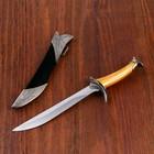 Сувенирный нож, 26 см ножны с оковками, рукоять под дерево, гарда галочкой - фото 8875255
