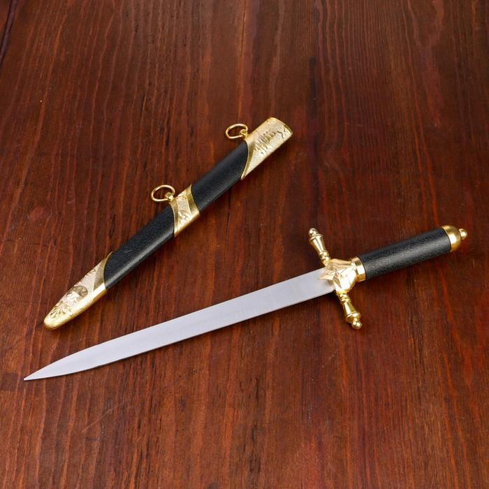 Сувенирный кортик, 39 см, ножны с оковками, диагональ под бронзу, рукоять чёрная, гарда с каплями