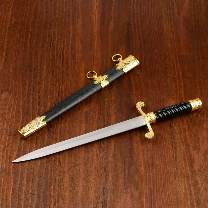 Сувенирный кортик, 39 см, ножны с оковками, гарда завитком, рукоять витая, чёрная