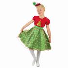 """Карнавальный костюм """"Ёлочка в горошек"""", платье, ободок, р-р 32, рост 128 см"""