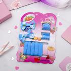 """Набор для волос """"Софи"""" (7 резинок, 2 краба), с бабочками, синий"""