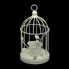 """Подсвечник металл 1 свеча """"Клетка с птицей"""" белая 21,5х12,3х12,3 см"""