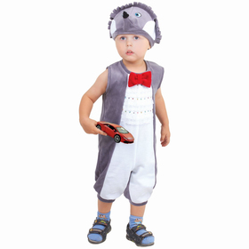 """Детский карнавальный костюм для мальчика от 1,5-3-х лет """"Ёжик"""", велюр, комбинезон, шапка, р-р 26, рост 98 см"""