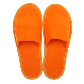 Тапочки махровые открытые, цвет персик, размер 36-38