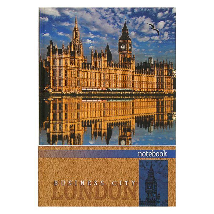 Бизнес-блокнот А5, 80 листов London, твёрдая обложка, глянцевая ламинация