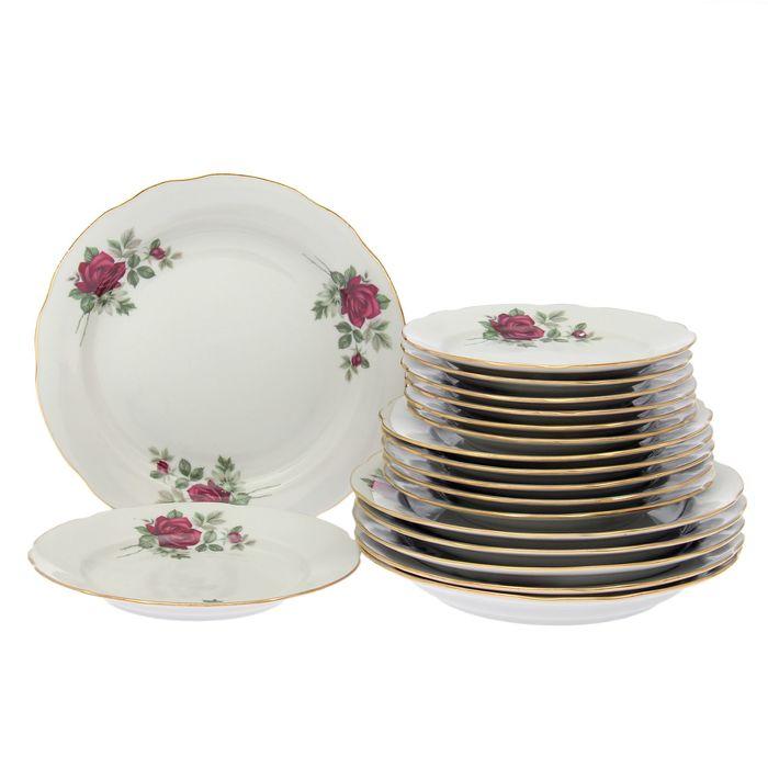 """Набор тарелок с вырезным краем """"Черная роза"""", 18 предметов"""