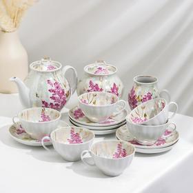 Сервиз чайный «Белый лебедь. Розовая сирень», 15 предметов