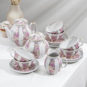 Сервиз чайный «Белый лебедь. Розовый сад», 15 предметов: чайник 1 л, сахарница 750 мл, сливочник 300 мл, 6 чашек 275 мл, 6 блюдец 15 см