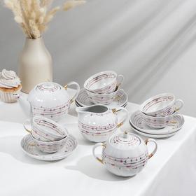 """Сервиз чайный """"Тюльпан. Нежный"""", 15 предметов: чайник 750 мл, сахарница 600 мл, сливочник 300 мл, 6 чашек 220 мл, 6 блюдец 15 см"""