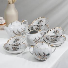 "Сервиз чайный ""Тюльпан. Нина"", 15 предметов: чайник 750 мл, сахарница 600 мл, сливочник 300 мл, 6 чашек 220 мл, 6 блюдец 15 см"