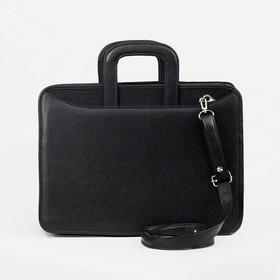 Сумка-портфель мужская на молнии, 2 отдела, длинный ремень, цвет чёрный