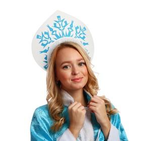 Кокошник на ободке «Снежинка», цвет голубой