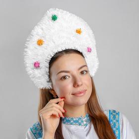 Кокошник на ободке «Мишура» с помпонами, цвета МИКС