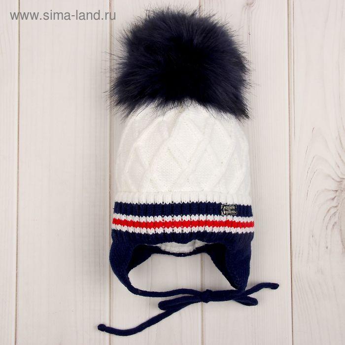 Головной убор детский (шапка), возраст 1-2 года, цвет белый C-754_М