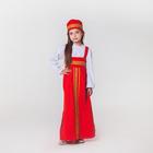 """Карнавальный костюм для девочки """"Русский народный"""", сарафан, рубашка, кокошник, 5-6 лет"""