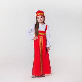 """Карнавальный костюм для девочки """"Русский народный"""", сарафан, рубашка, кокошник, 6-7 лет"""