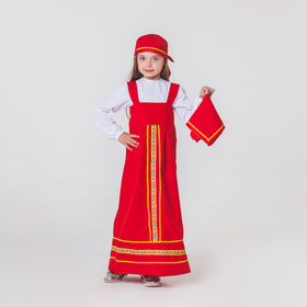 """Карнавальный костюм """"Матрёшка"""", платок, сарафан, косынка, рубашка, рост 116-122 см, 5-6 лет"""