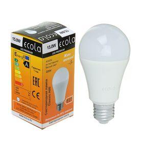 Лампа светодиодная Ecola, А60, Е27, 15 Вт, 4000 К, 120 х 60 мм, матовый шар