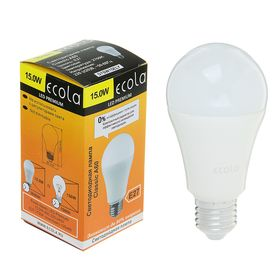 Лампа светодиодная Ecola, А60, 15 Вт, Е27, 2700 К, 120 х 60 мм, матовый шар