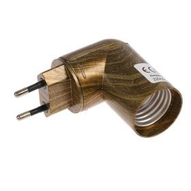 Переходник Ecola вилка/патрон, E27, 83х60 мм, поворот 90°, с выключателем, черненая бронза