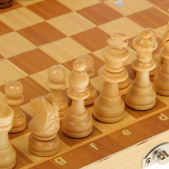 Игра настольная «Шахматы» деревянные, поле складное 24х24 см