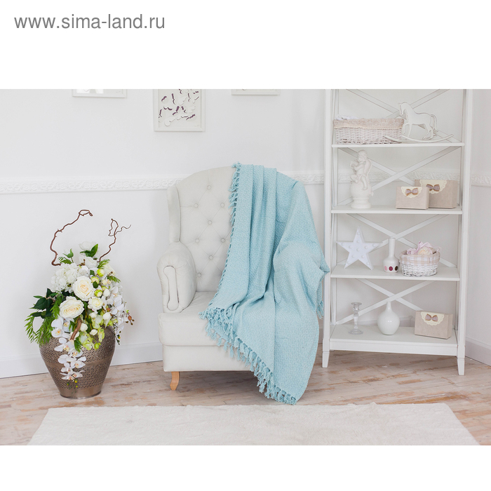 Плед-покрывало СОФТ АНАНАС голубой, 160х220 см, хлопок 330 гр/м